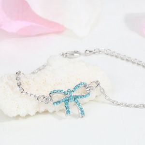 Jewelry - Silver Plated Bracelet Hand Chain Bow knot blue